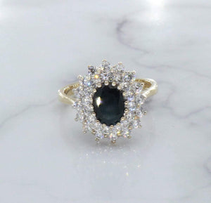 Blue Sapphire & Cubic Zirconia Halo Ring 9ct Gold