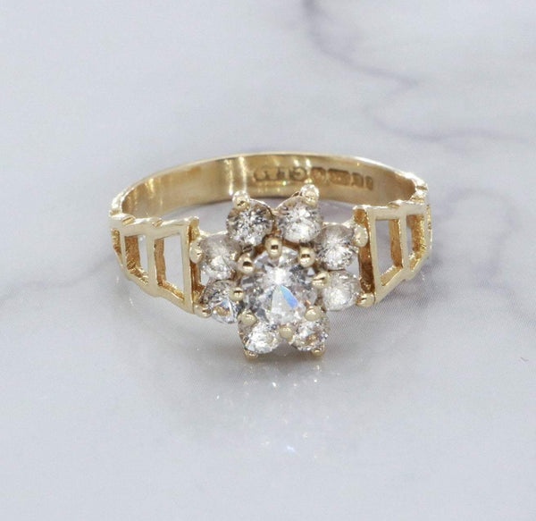 Cubic Zirconia Cluster Ring 9ct Gold