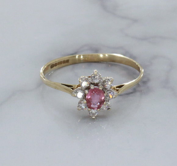 Pink Ruby Ring 9ct Yellow Gold