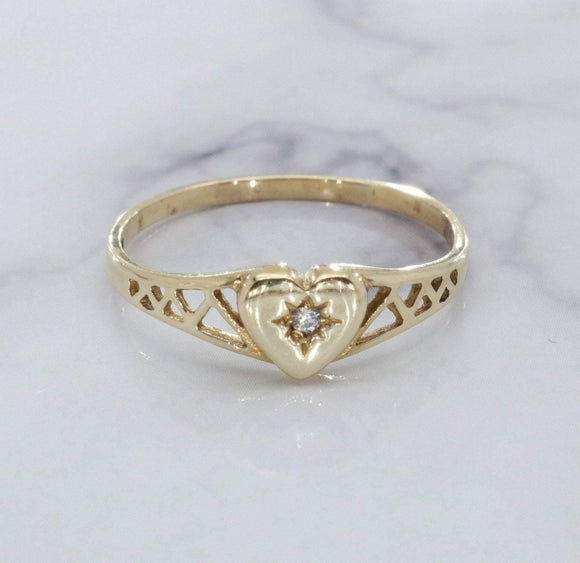 Cubic Zirconia Heart Ring 9ct Yellow Gold