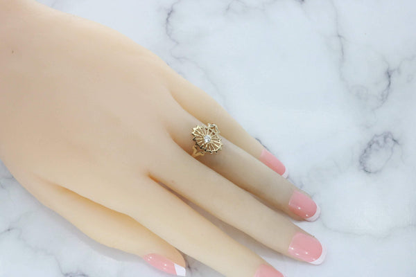 Cubic Zirconia Filigree Ring 9ct Yellow Gold
