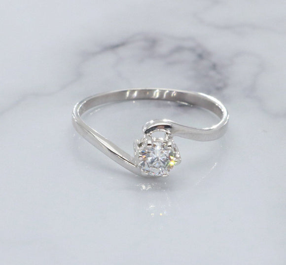 Solitaire Cubic Zirconia Ring 9ct White Gold