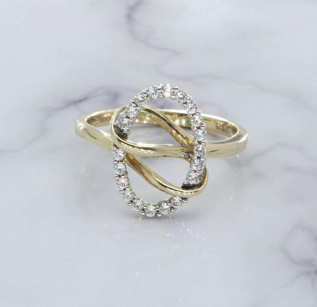 Cubic Zirconia Twist Ring 9ct Yellow Gold