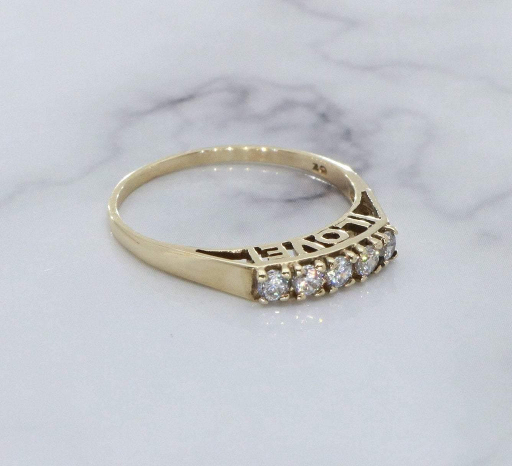 Cubic Zirconia Love Ring 9ct Yellow Gold - Renee Isabella