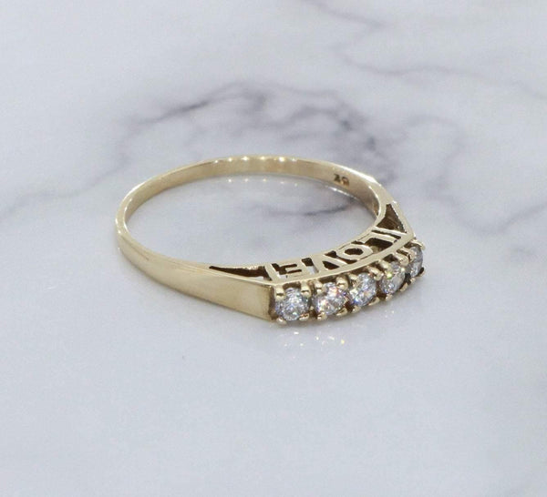 Cubic Zirconia Love Ring 9ct Yellow Gold
