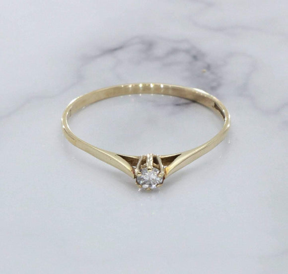 Cubic Zirconia Solitaire Ring 9ct Gold