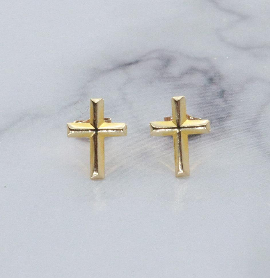 Cross Stud Earrings 14ct Yellow Gold - Renee Isabella