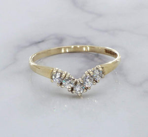 Cubic Zirconia Wishbone Ring 9ct Yellow Gold
