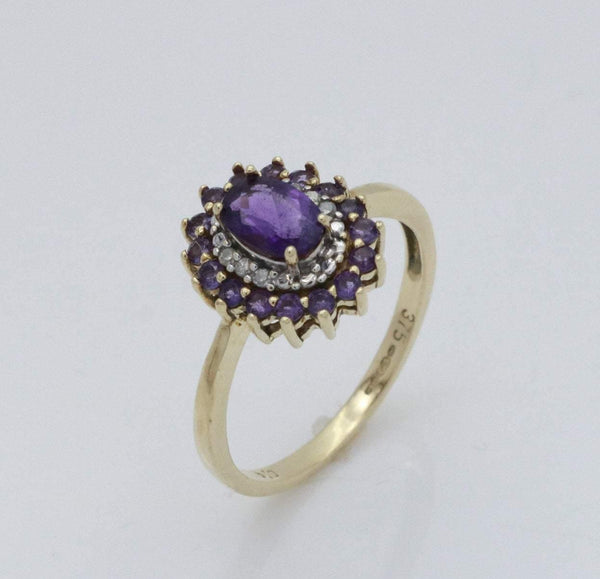 Amethyst Jewelry, Stacking Ring, Gold Amethyst Ring, Statement Ring, February Birthstone, Ring with Amethyst, Birthstone Ring, Diamond Ring, Birthstone Jewellery, Amethyst Engagement, Engagement Ring, White Diamond, Gemstone Engagement