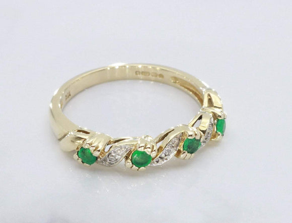 Emerald & Diamond Ring 9ct Yellow Gold