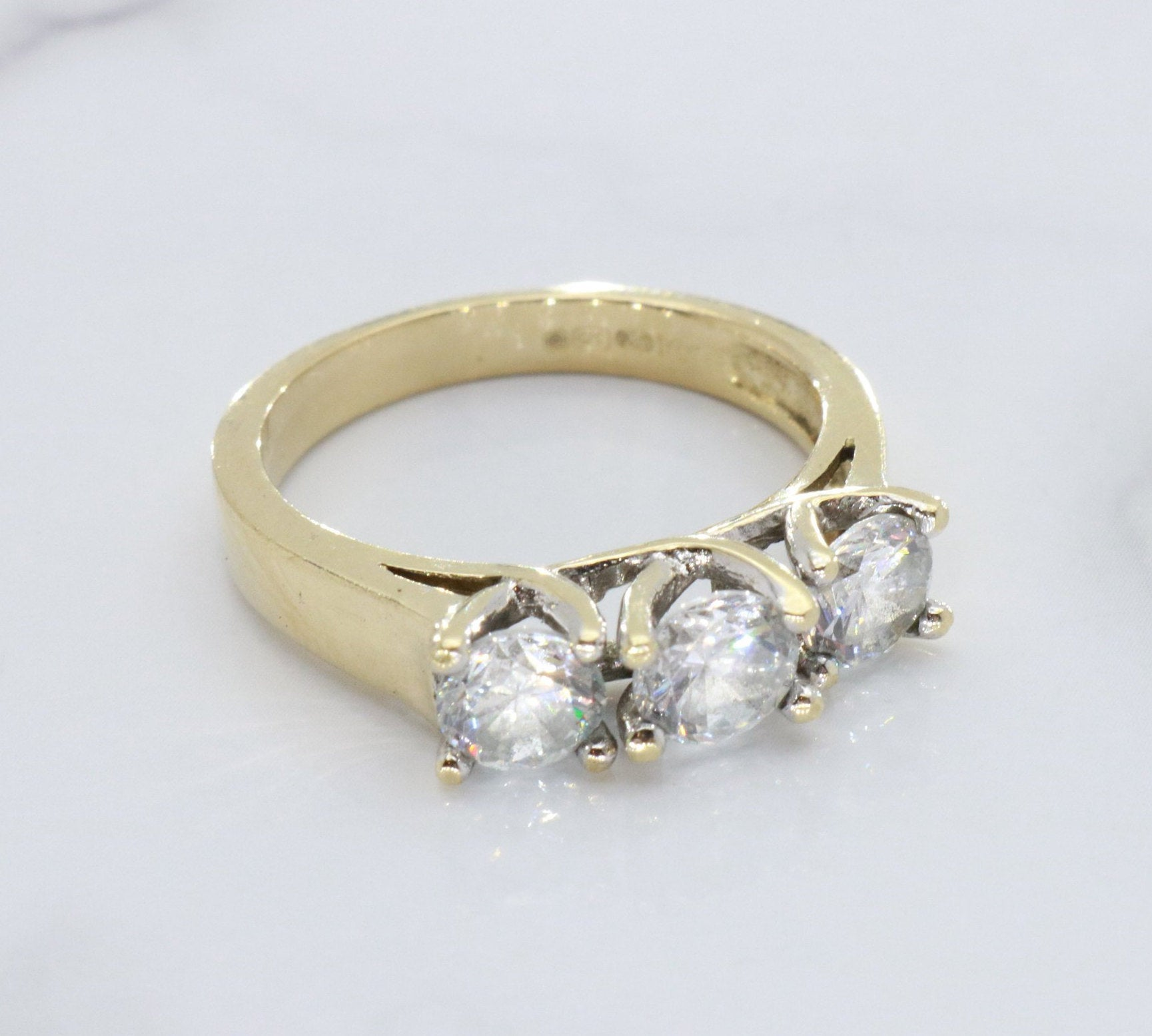 Trilogy Cubic Zirconia Ring 9ct Yellow Gold