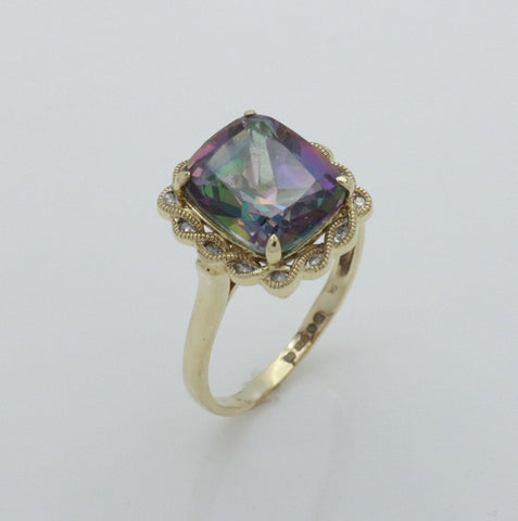 Mystic Topaz Ring 9ct Yellow Gold