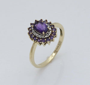 Amethyst & Diamond Halo Engagement Ring 9ct Gold