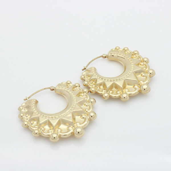 Large Gypsy Hoop Earrings 9ct Yellow Gold