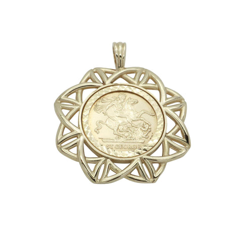 Sovereign Coin Pendant 9ct Yellow Gold