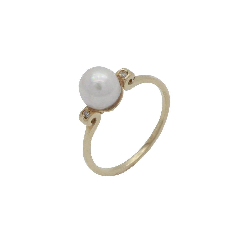 Freshwater Pearl & Diamond Ring 14ct Yellow Gold - Renee Isabella