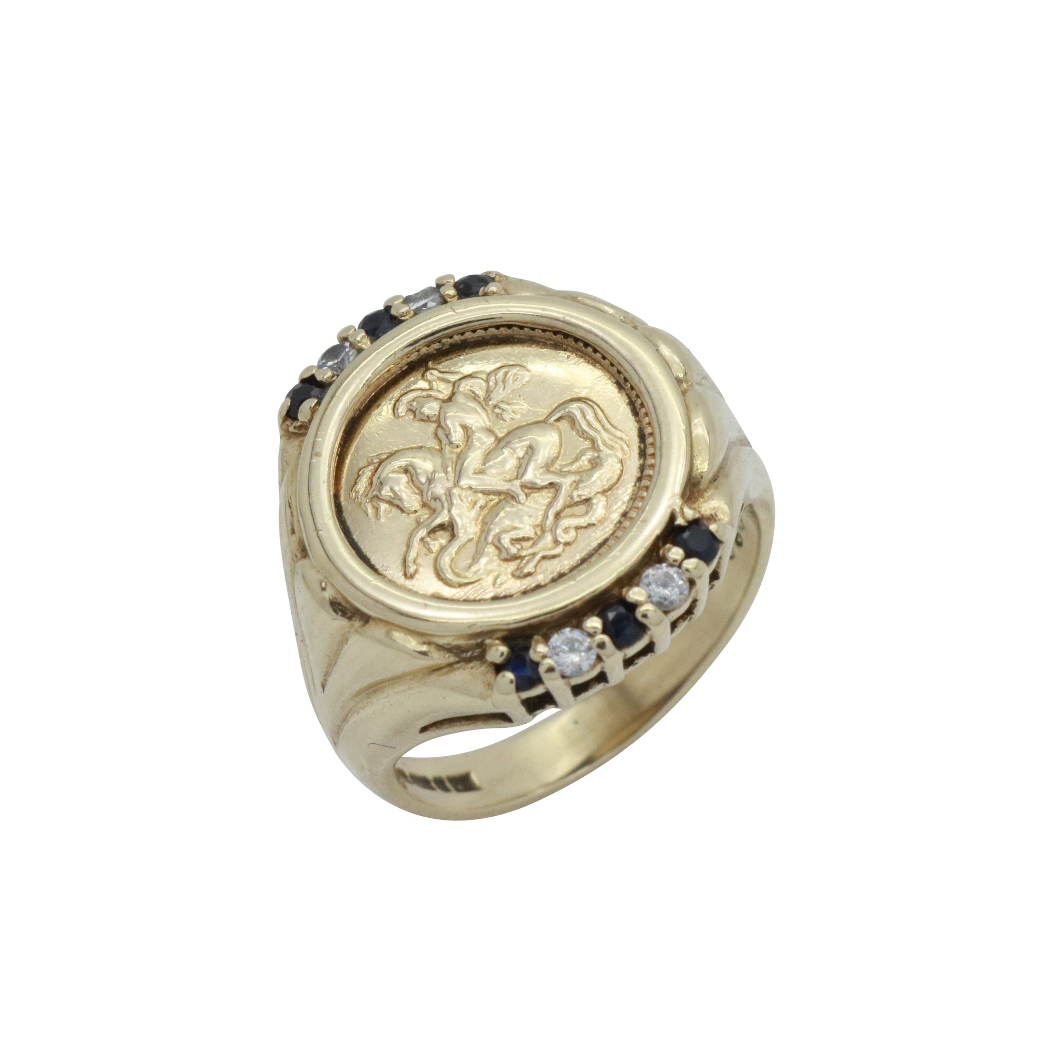 Sapphire Saint George Signet Ring 9ct Yellow Gold