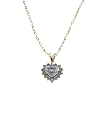 Tanzanite & Diamond Heart Pendant 9ct Yellow Gold