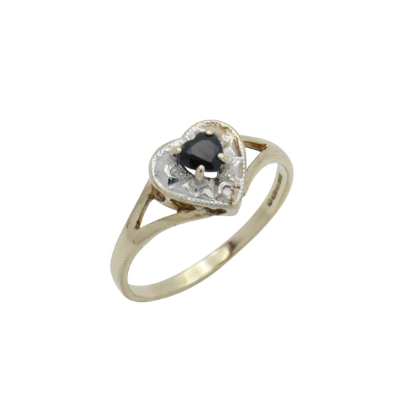 Black Sapphire & Diamond Heart Ring 9ct Gold