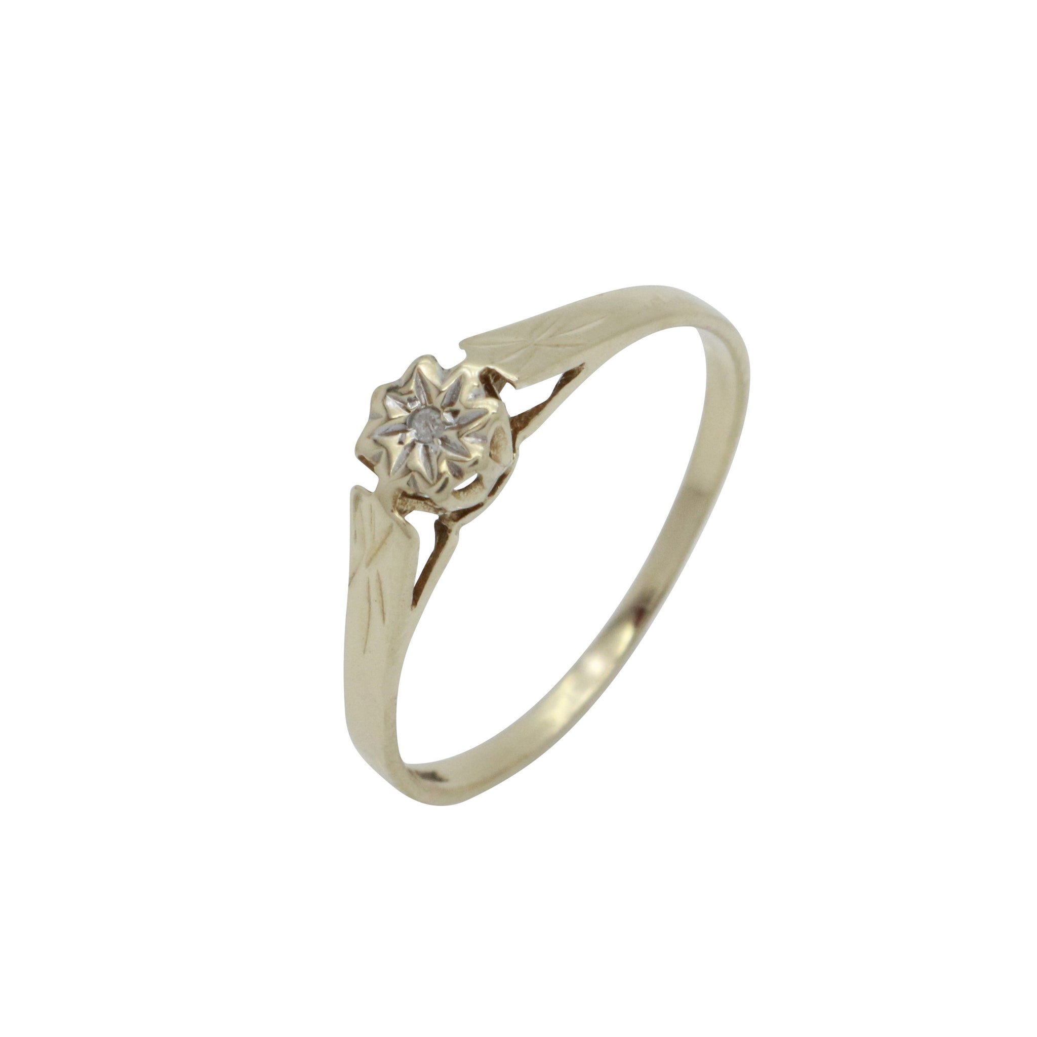 Solitaire Diamond Engagement Ring 9ct Yellow Gold