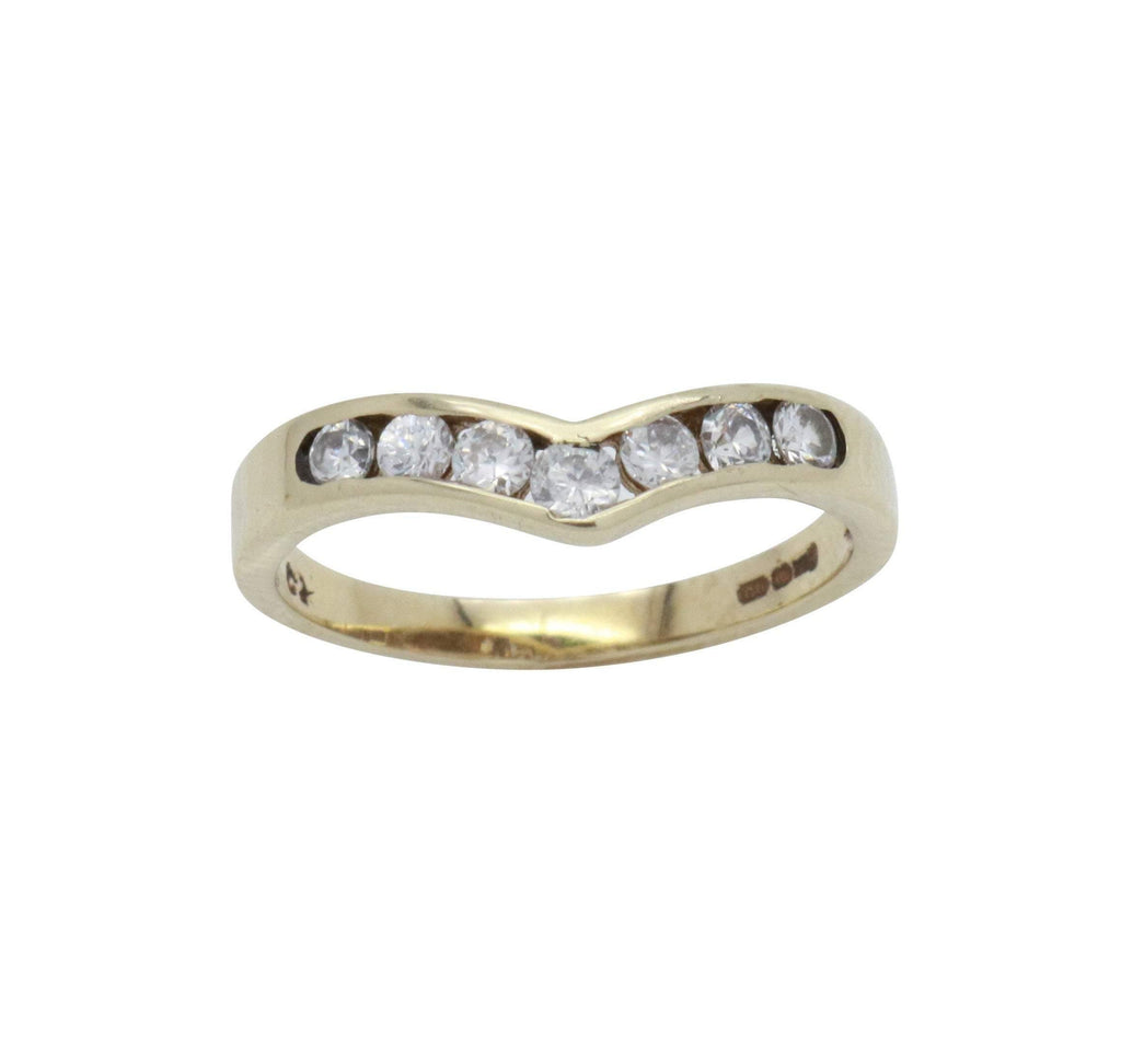 Cubic Zirconia Wishbone Ring 9ct Yellow Gold - Renee Isabella