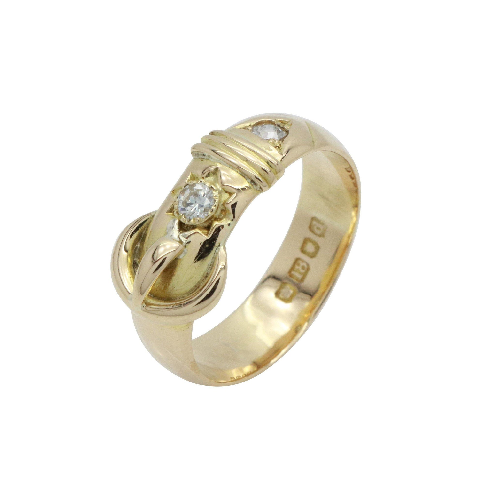 Diamond Buckle Ring 18ct Yellow Gold
