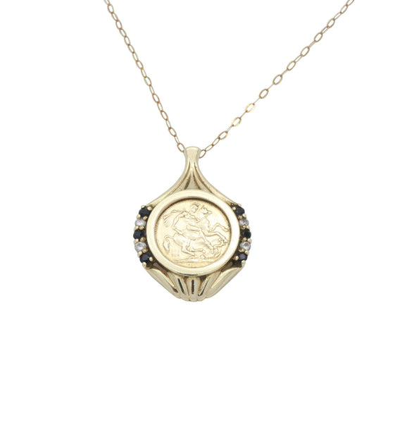 Sapphire Saint George Pendant 9ct Yellow Gold