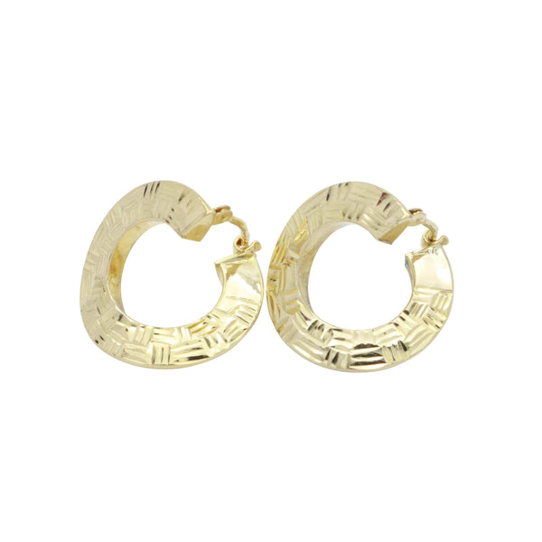 Diamond Cut Hoop Earrings 9ct Yellow Gold