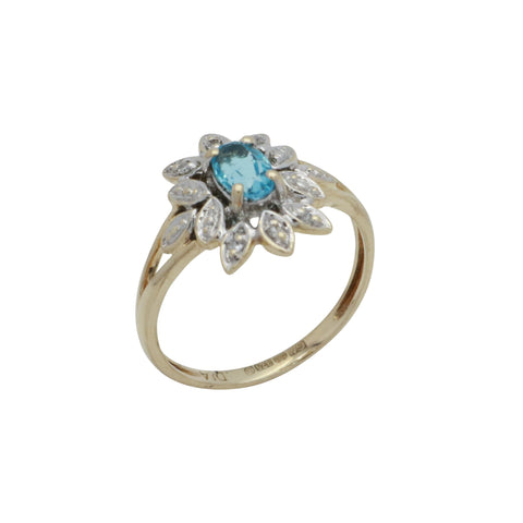 Sky Blue Topaz & Diamond Ring 9ct Yellow Gold