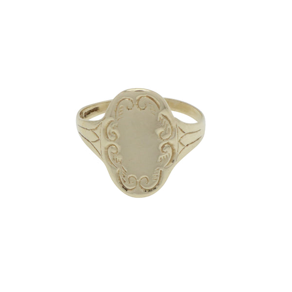 Oval Floral Ring 9ct Yellow Gold