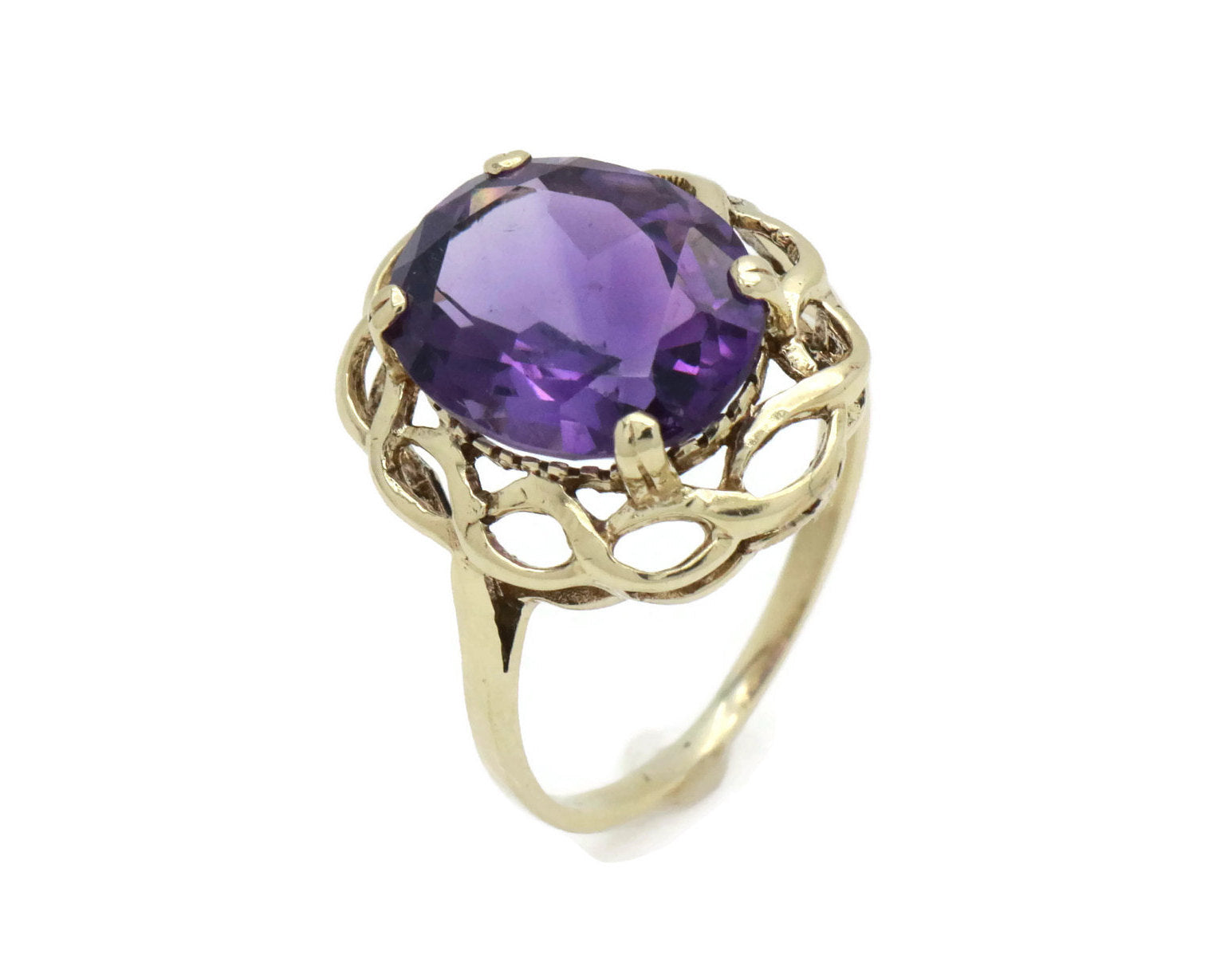 Vintage Amethyst Solitaire Cocktail Ring 9ct Gold