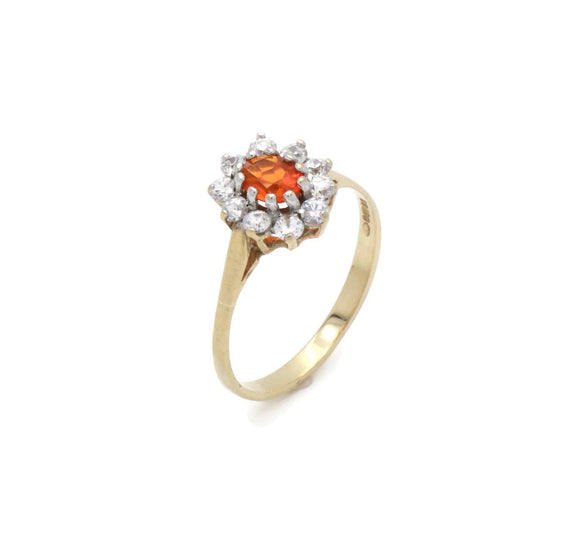 Orange Cubic Zirconia Halo Ring 9ct Gold