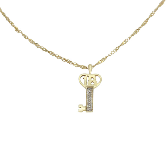 Diamond 18th Birthday Key Pendant 9ct Gold