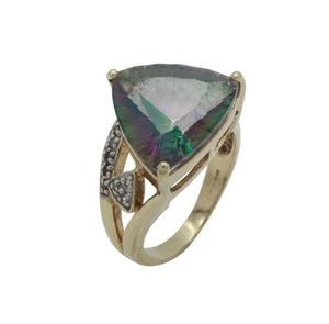 Mystic Topaz & Diamond Ring 9ct Yellow Gold