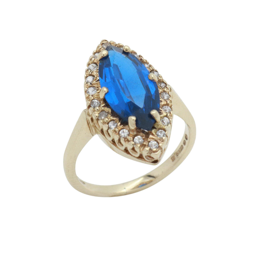 Blue Art Deco Cubic Zirconia Ring 9ct Yellow Gold - Renee Isabella
