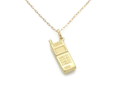 Mobile Phone Charm Pendant 9ct Yellow Gold