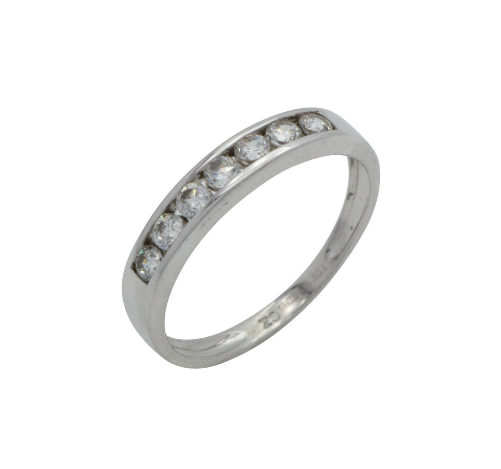 Cubic Zirconia Half Eternity Band 9ct White Gold - Renee Isabella