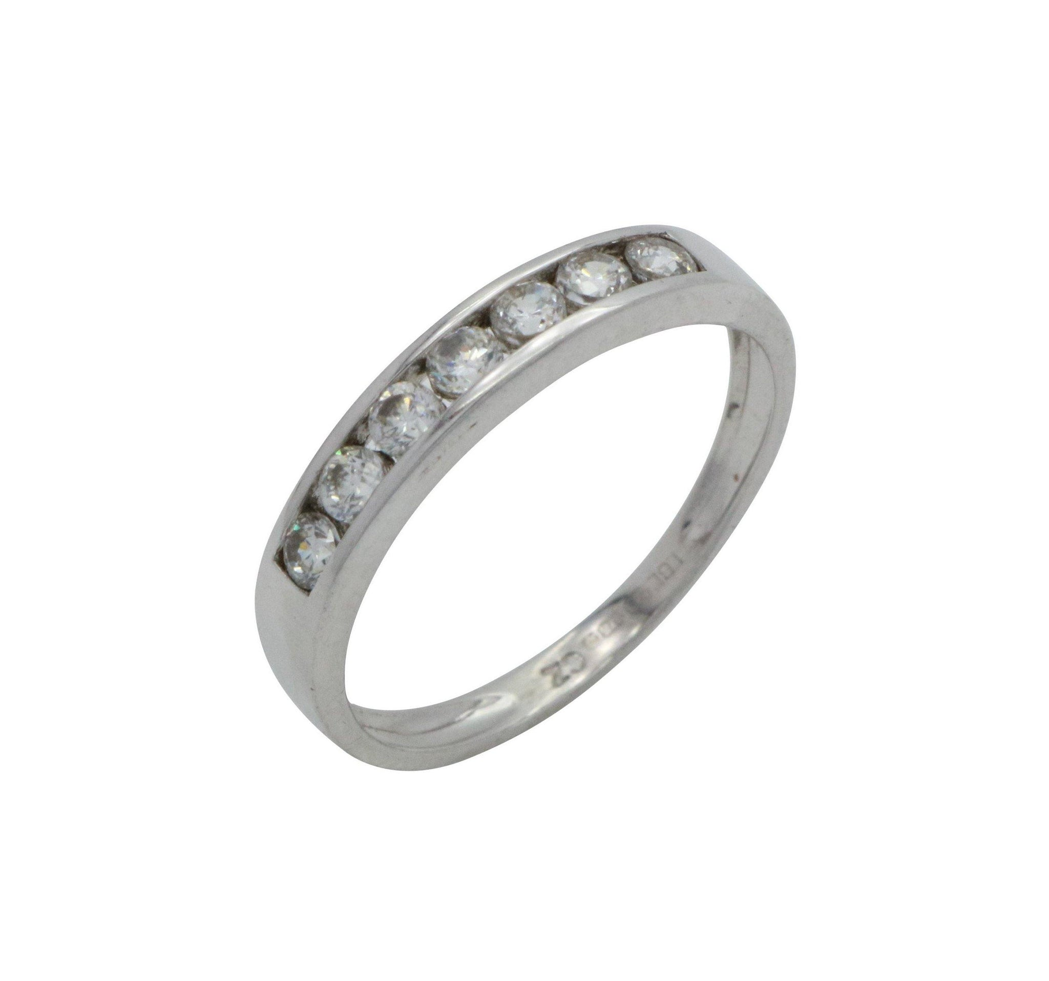 Cubic Zirconia Half Eternity Band 9ct White Gold