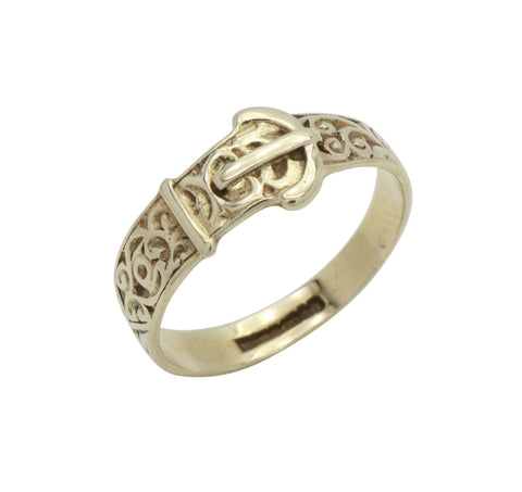 Swirl Patterned Buckle Ring 9ct Yellow Gold