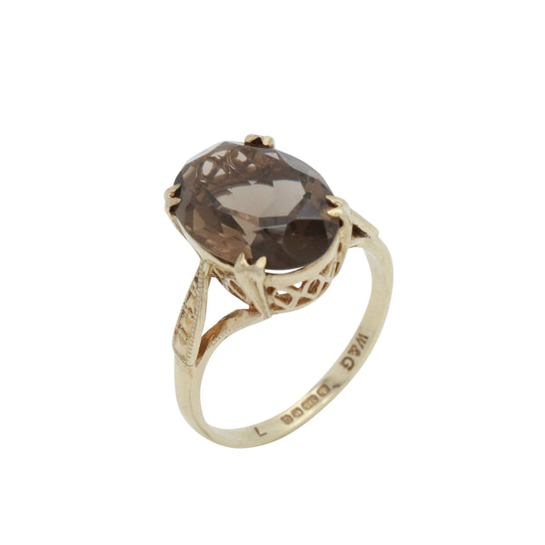 Brown Smoky Quartz Ring 9ct Yellow Gold