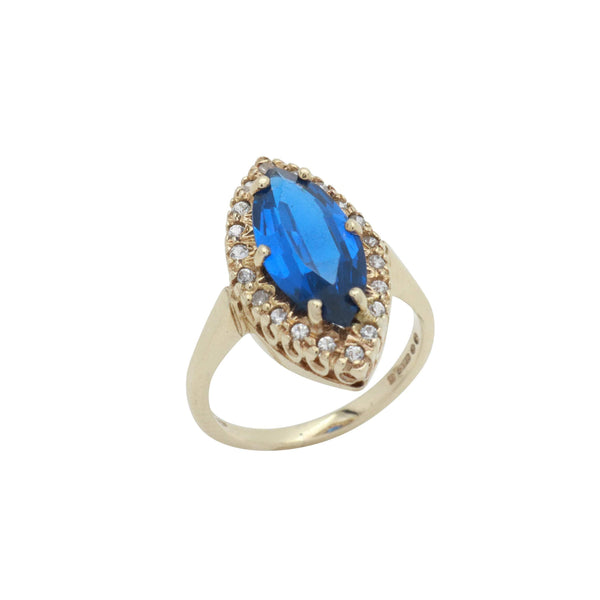 Blue Art Deco Cubic Zirconia Ring 9ct Yellow Gold