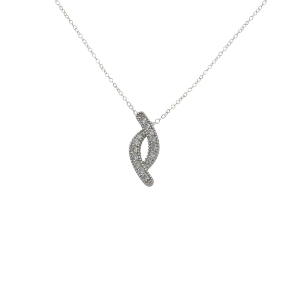 Cubic Zirconia Infinity Necklace 925 Sterling Silver