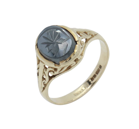 Hematite Signet Ring 9ct Yellow Gold