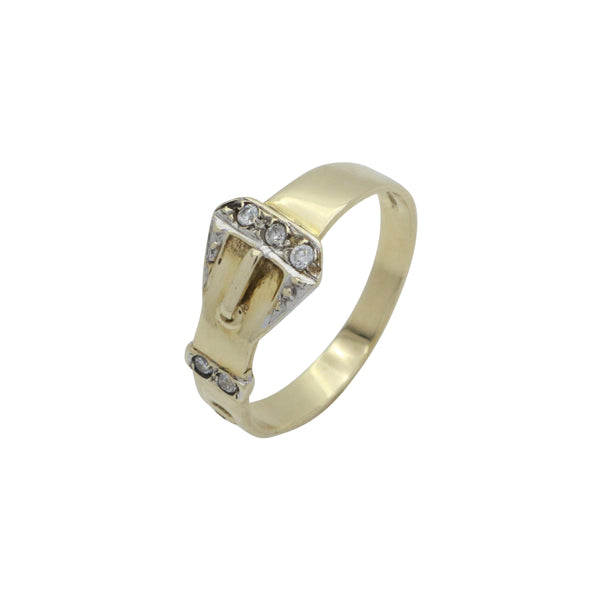 Cubic Zirconia Buckle Ring 9ct Yellow Gold