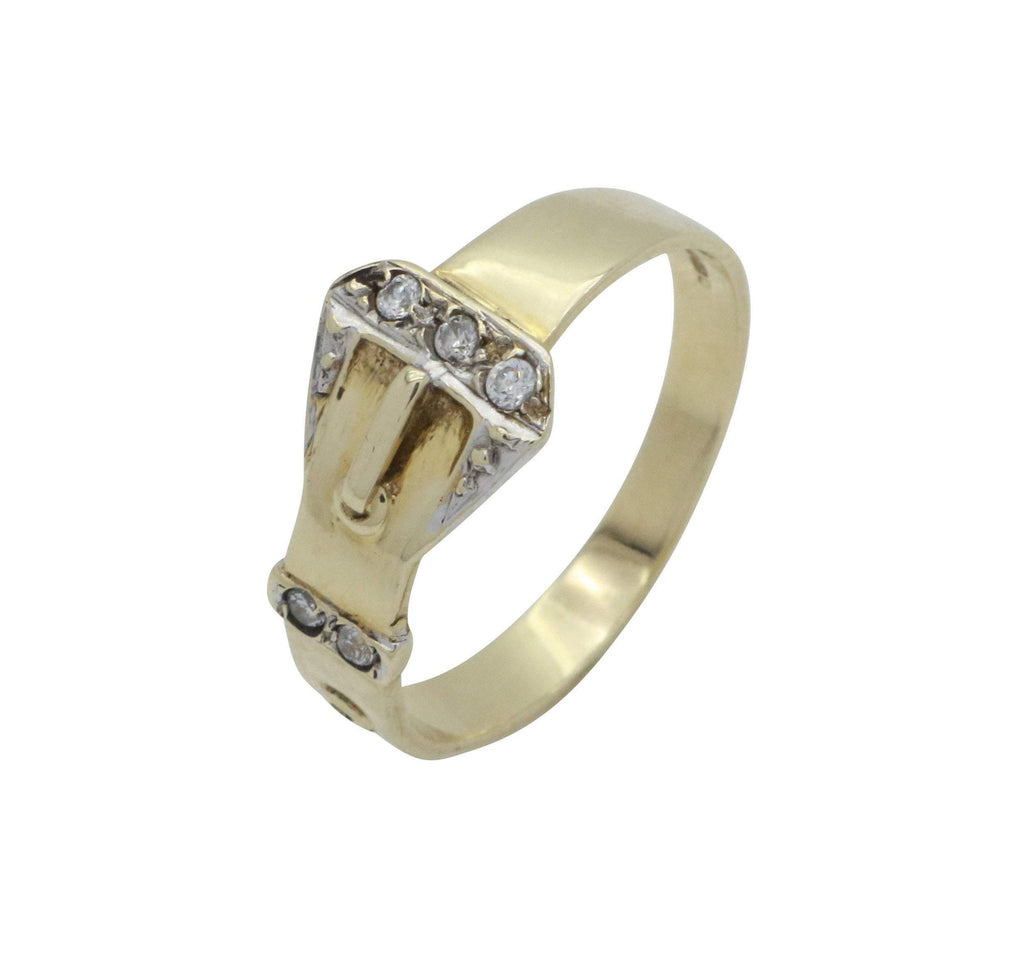 Cubic Zirconia Buckle Ring 9ct Yellow Gold - Renee Isabella