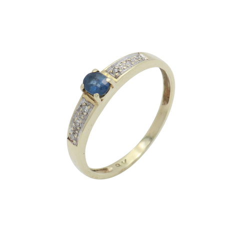 Oval Blue Sapphire & Diamond Ring 9ct Yellow Gold