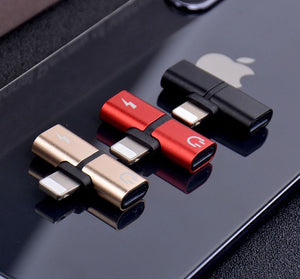 2 in 1 iPhone T-Shape Dongle (Lightning Audio/Lighting Charging) - The Genie Tech