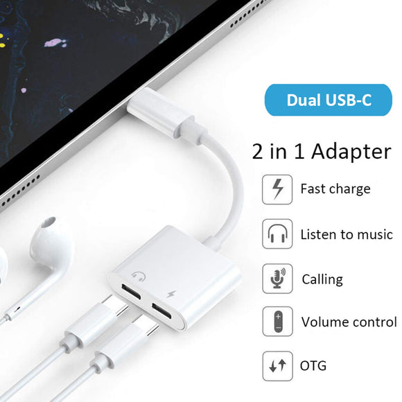 USB Type C Splitter Jack - Audio and Charger, Dual USB Type C Adapter - The Genie Tech