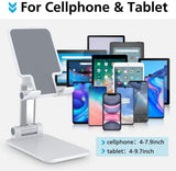 Adjustable Cell Phone Stand, Foldable Phone Holder Tablet Stand for Desk, Angle Height Adjustable Cell Phone Stand Compatible with Phone 12, 12 Pro, 11 Pro, XS, XS Max, XR, iPad Mini, Nintendo Switch, Tablets(Black/White/Pink) - The Genie Tech