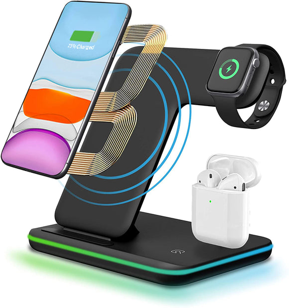 3 in 1 Wireless Fast Charging Station, Watch & Earphones Charger Dock with LED Light (Black, White) - The Genie Tech